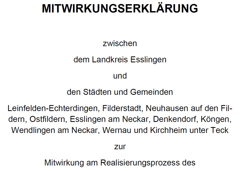 Mitwirkungserklärung Radschnellweg Fildern